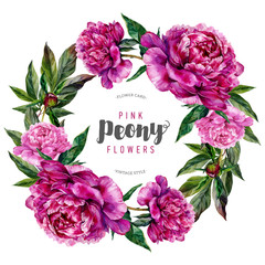 Hand drawn watercolor floral wreath