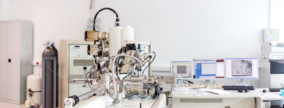 Particle accelerator in the laboratory, a complex instrument, exploring the world of the 21st century laboratory