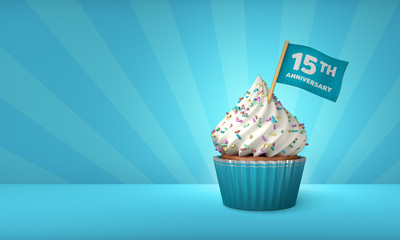 3D Rendering of Blue Cupcake, 15th Anniversary Text on the Flag, Blue Paper Cupcake