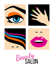 Beauty salon icons set. Female eye, nails. hair and lips. Vector flat illustration isolated on white background.