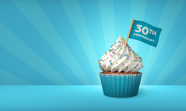 3D Rendering of Blue Cupcake, 30th Anniversary Text on the Flag, Blue Paper Cupcake