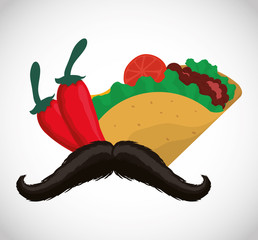 Taco pepper and mustache. Mexico landmark and mexican culture theme. Colorful design. Vector illustration