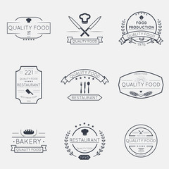 Thin line food emblems