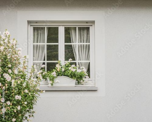 Modernes hellgraues kunststofffenster mit sprossen im isolierglas modern grey pvc window with - Kunststofffenster mit sprossen ...