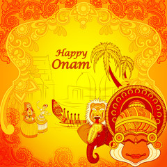 Happy Onam background in Indian art style