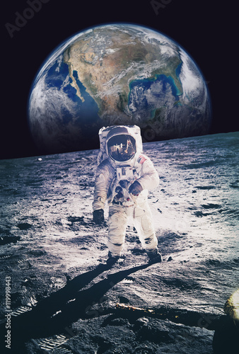 astronaut on moon earth background - photo #23