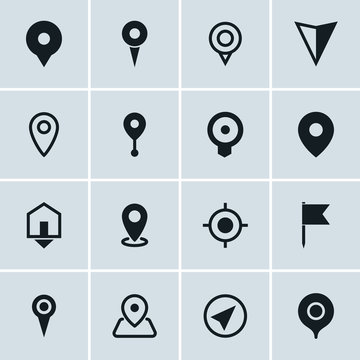 Map location icons, set of 16 pointers symbols, ideal for website design, vector illustration graphic