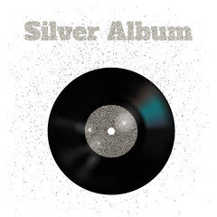 Vector illustration of metal vinyl disk:silver