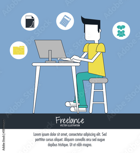 Freelance Design Work From Home Woman Freelancer Work At Home On Laptop Vector Stock Vector