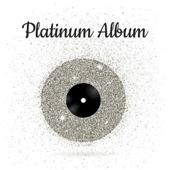 Vector illustration of metal vinyl disk: platinum
