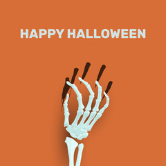 Vector Halloween background with skeleton arm for promotional, p