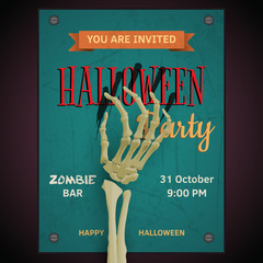 Vector Halloween party poster  with dead man's zombie arm on inv