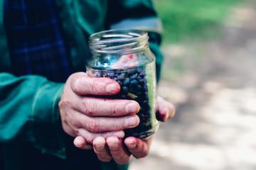 Man hands holding jar of forest blueberry