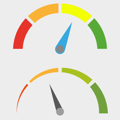 Speedometer icon with arrow. Colorful Infographic gauge element. Vector illustration