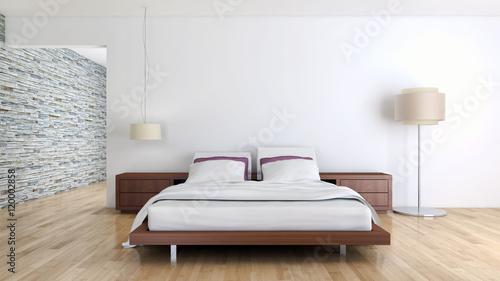 Camera da letto moderna con parquet\