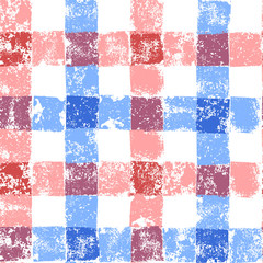 Blue and pink pastel colored checkered grunge gingham seamless pattern, vector
