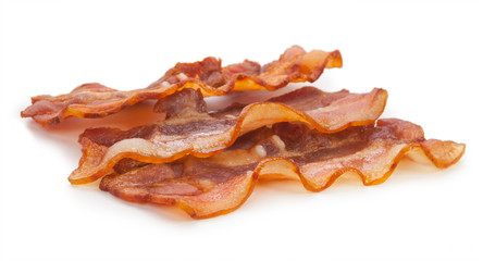 delicious fried bacon on a white background