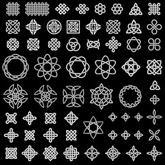 50+ collection of Celtic, Asian (Chinese, Korean, etc.) and other knots for use in your creative projects (raster illustration)