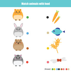 Matching children education game, kids activity. Match animals with food