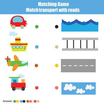 Matching children educational game, kids activity. Match transport with roads