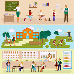 School banners. Teachers by blackboard with pupils in the classroom, school-yard and dinner hall. Kids in different poses. Vector illustration eps10