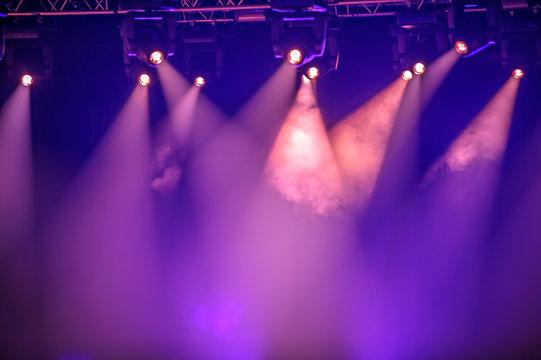 Purple stage spotlights