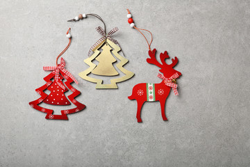 Christmas wood decorations on concrete