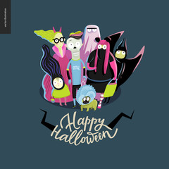 Happy Halloween greeting card with lettering. Vector cartoon illustrated group of kids wearing Halloween costumes and a french bulldog, scared by something.