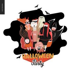Halloween Party card with lettering. Vector cartoon illustrated group of kids wearing Halloween costumes and a french bulldog, scared by something.