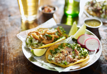 Sticker - two mexican street tacos with chopped pork and Chicharrón