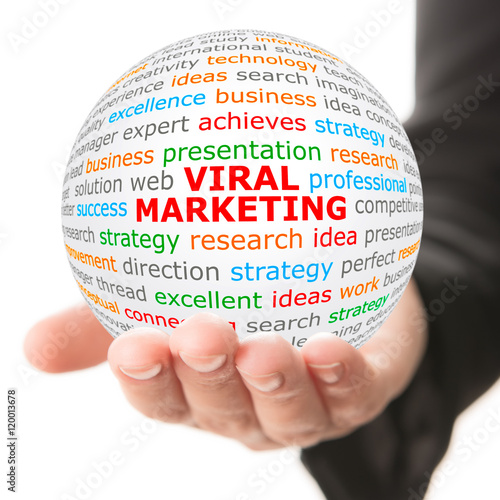 """Viral Word: """"Viral Marketing. Hand Take White Ball With Wordcloud And"""