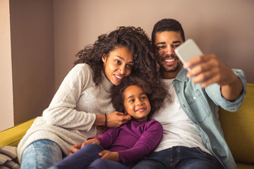 Family making a selfie