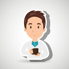 man young cup coffee vector illustration eps10 eps 10
