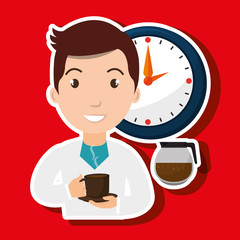 man clock coffee cup vector illustration eps10