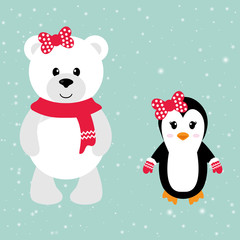 cartoon winter bear and penguin with bow