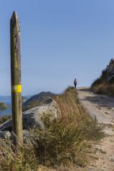 Hiking trail in Cies Islands (Pontevedra, Spain).