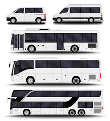 Buses, vans and minivans. Big set.