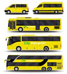 Buses, vans and minivans. Big set.
