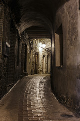 Narrow cobbled street in old town Peille at night, France.