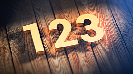 Digits 123 on wood planks Wall mural