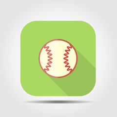 baseball flat icon with long shadow