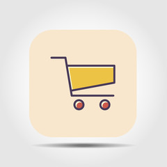 shopping basket flat icon with long shadow