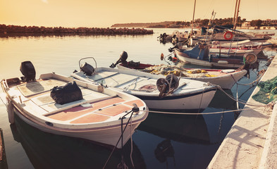 Old wooden fishing boats moored in bay of Tsilivi