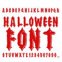 Halloween font. Ancient alphabet. Blood Gothic letters. Vintage