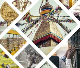 Collage of Kathmandu (Nepal) images - travel background (my phot