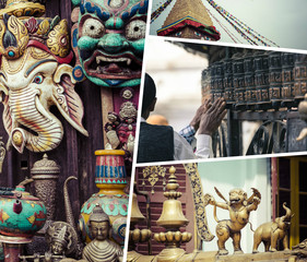 Collage of Kathmandu (Nepal) images - travel background (my phot