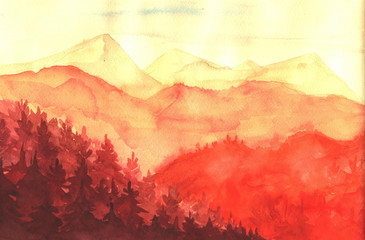 Watercolor painting landscape Illustration for your application , project