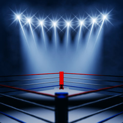 Boxing ring corner and floodlights , Boxing match