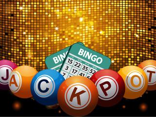 Bingo balls jackpot and cards over disco wall
