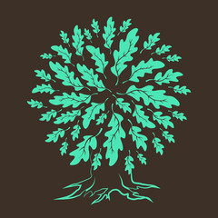 Beautiful brown oak tree silhouette isolated on white background. Web graphics modern vector sign.  Premium quality illustration logo design concept.